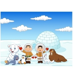 Little kids wearing traditional eskimo costume vector