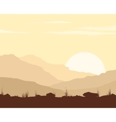 Landscape with sunset in mountains vector image