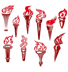 flaming torchs vector image