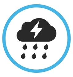 Thunderstorm flat rounded icon vector