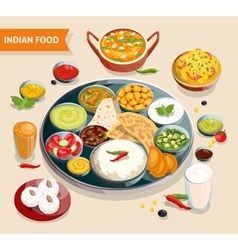 Indian food composition vector