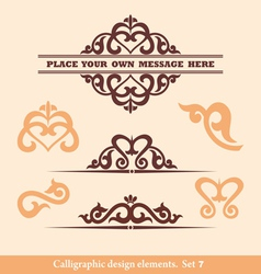 Set calligraphic design vector