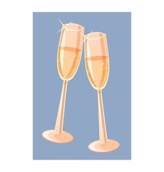 Two champagne glasses icon cartoon style vector
