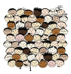 Crowd of funny peoples for your design vector