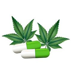 A capsule of marijuana vector