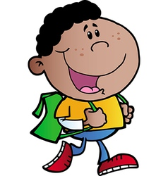 African American School Boy vector image vector image