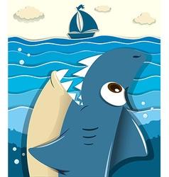 Angry shark aiming for sailboat vector image