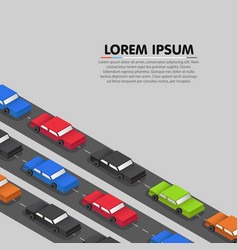 cars standing in a traffic jam vector image vector image