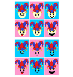 Colorful fools day emoticons set vector