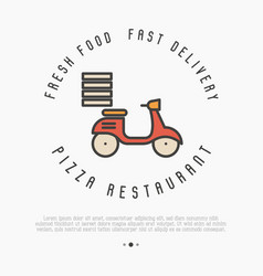 concept of fast delivery of pizza thin line bike vector image vector image