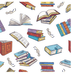 different books from library doodle vector image vector image