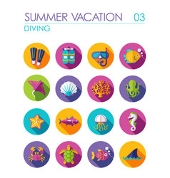 Diving flat icon set summer vacation vector