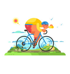 fast cyclist sportsman on bike vector image