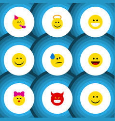 Flat icon emoji set of angel laugh joy and other vector