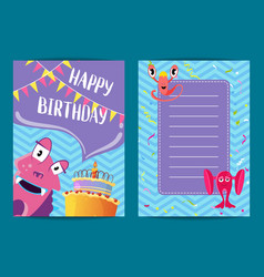 happy birthday card template with cute vector image vector image