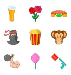 Improvisation icons set cartoon style vector