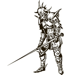 Medieval knight with sword vector