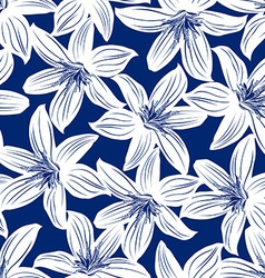 Navy and white tropical hibiscus floral seamless vector
