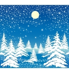 Night winter forest vector
