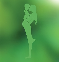 Pregnant mother with baby Green blurred background vector image vector image