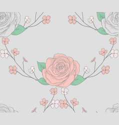 seamless pattern with roses with branches vector image vector image