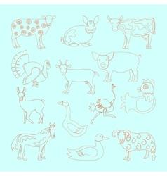 Set farm animals icon vector image