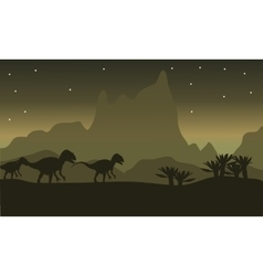 Silhouette of tyrannosaurus family with star vector image vector image