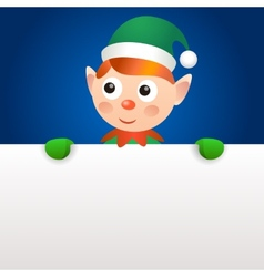 Smiling elf holding blank page vector image