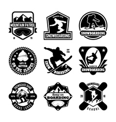 Snowboarding badges vector