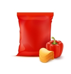 Stack potato chips with paprika and red foil bag vector