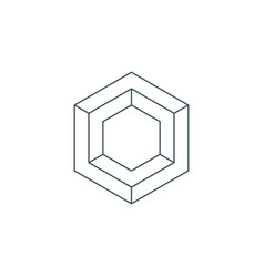 Thin line hexagon symbol vector