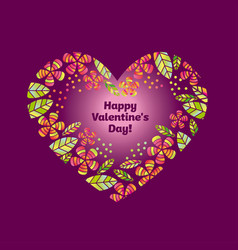 valentine decorative element with heart and flower vector image