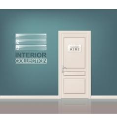 White Wooden Door vector image
