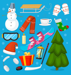 winter christmas symbols icons sport and vector image