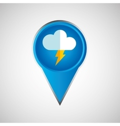 Signal weather cloud lightning pin design vector