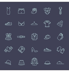 Clothes icons thin line style vector