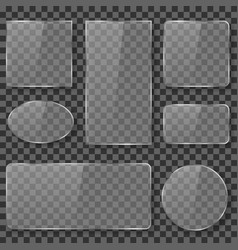 Transparent glass plastic acrylic plates banners vector