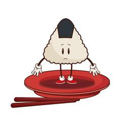 Kawaii sushi oriental food japanese platter and vector