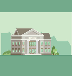 Bank building in city space flat vector