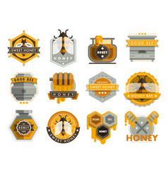 Set bee logo labels for honey products organic vector