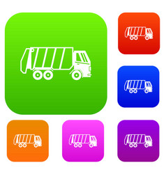 garbage truck set collection vector image