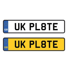 Uk number plate vector