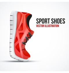 Running curved red shoes bright sport sneakers vector