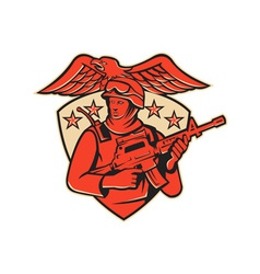 Soldier swat policeman rifle eagle shield vector
