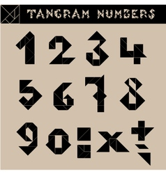 Tangram Numbers Black vector image