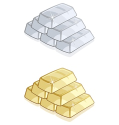 Piles of gold and silver bars isolated vector