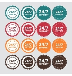 24-7 SUPPORT Sign Label Template vector image