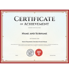 Certificate of achievement template red vector