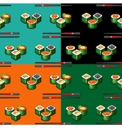 Seamless pattern sushi vector image