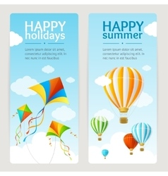 Summer holiday card set vector